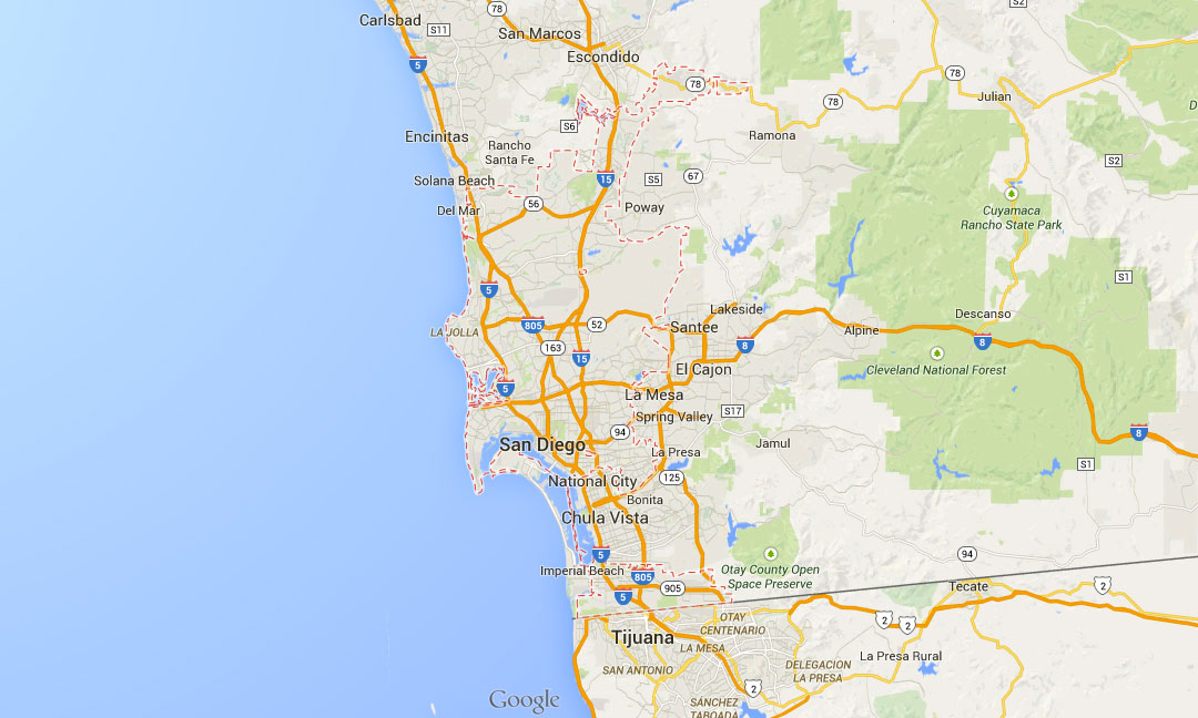 San Diego Map City.Latest Update In Google Maps Highlights Border Of The Cities And